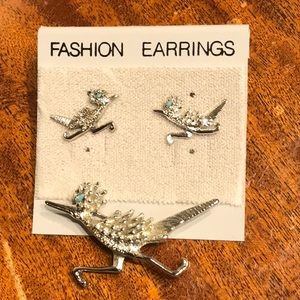 Vintage earrings necklace set road runner new rare